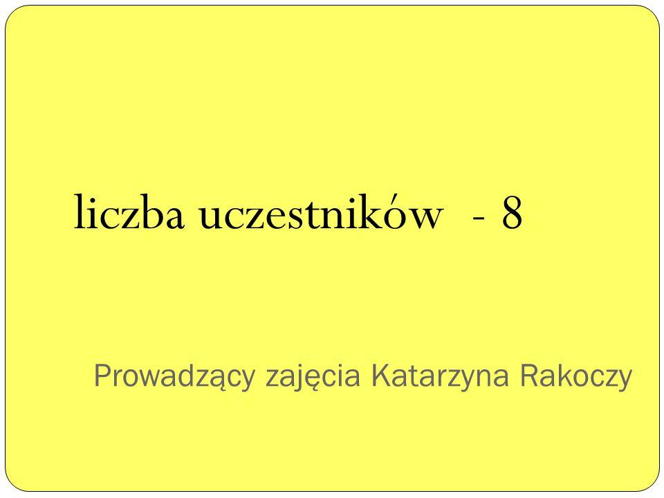 Prowadzący zajęcia Katarzyna Rakoczy liczba uczestników - 8