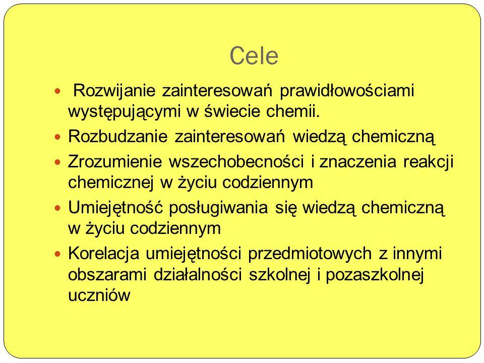 Cele Rozwijanie zainteresowań prawidłowościami występującymi w świecie chemii. Rozbudzanie zainteresowań wiedzą chemiczną Zrozumienie wszechobecności