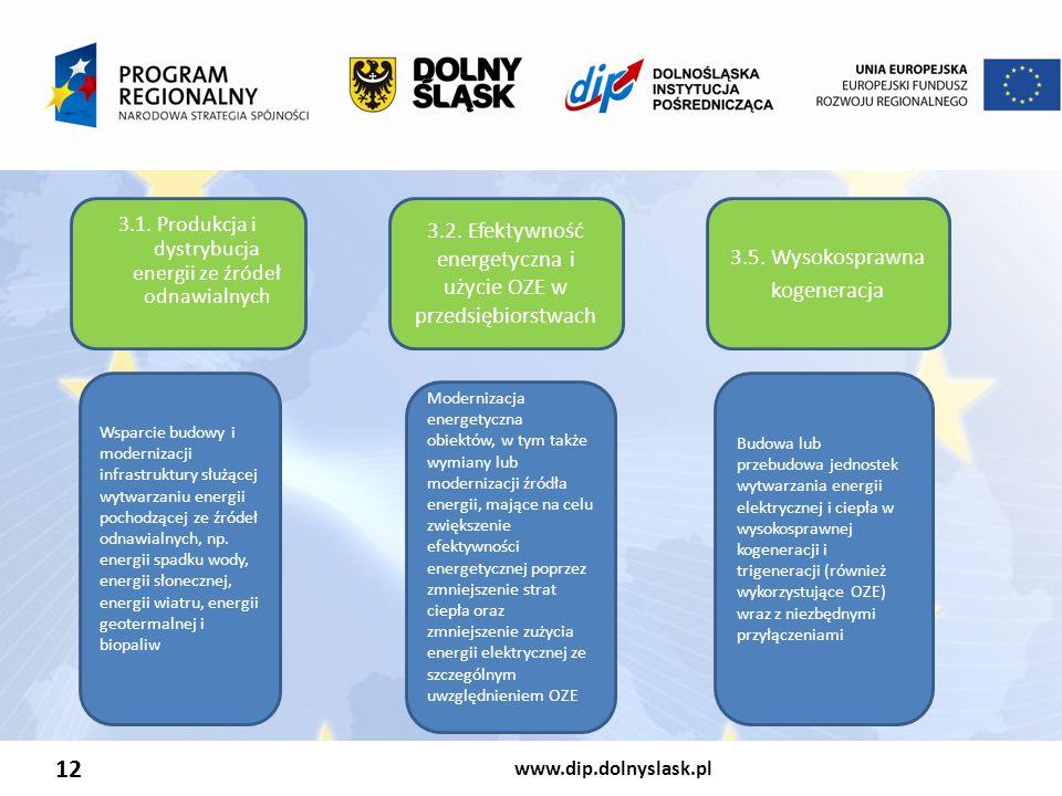 www.dip.dolnyslask.pl 12 3.1. Produkcja i dystrybucja energii ze źródeł odnawialnych 3.2. Efektywność energetyczna i użycie OZE w przedsiębiorstwach 3