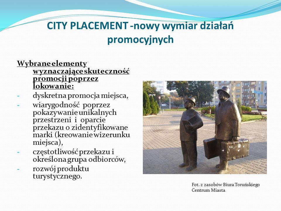 CITY PLACEMENT -nowy wymiar działań promocyjnych Wybrane elementy wyznaczające skuteczność promocji poprzez lokowanie: - dyskretna promocja miejsca, - wiarygodność poprzez pokazywanie unikalnych przestrzeni i oparcie przekazu o zidentyfikowane marki (kreowanie wizerunku miejsca), - częstotliwość przekazu i określona grupa odbiorców, - rozwój produktu turystycznego.