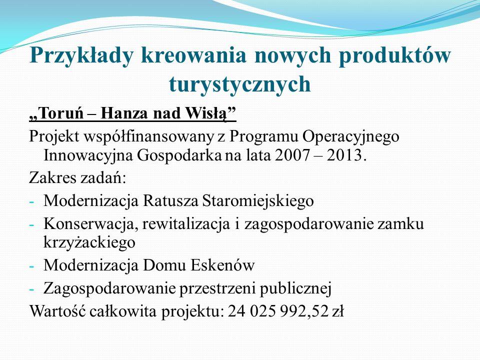 """Przykłady kreowania nowych produktów turystycznych """"Toruń – Hanza nad Wisłą Projekt współfinansowany z Programu Operacyjnego Innowacyjna Gospodarka na lata 2007 – 2013."""