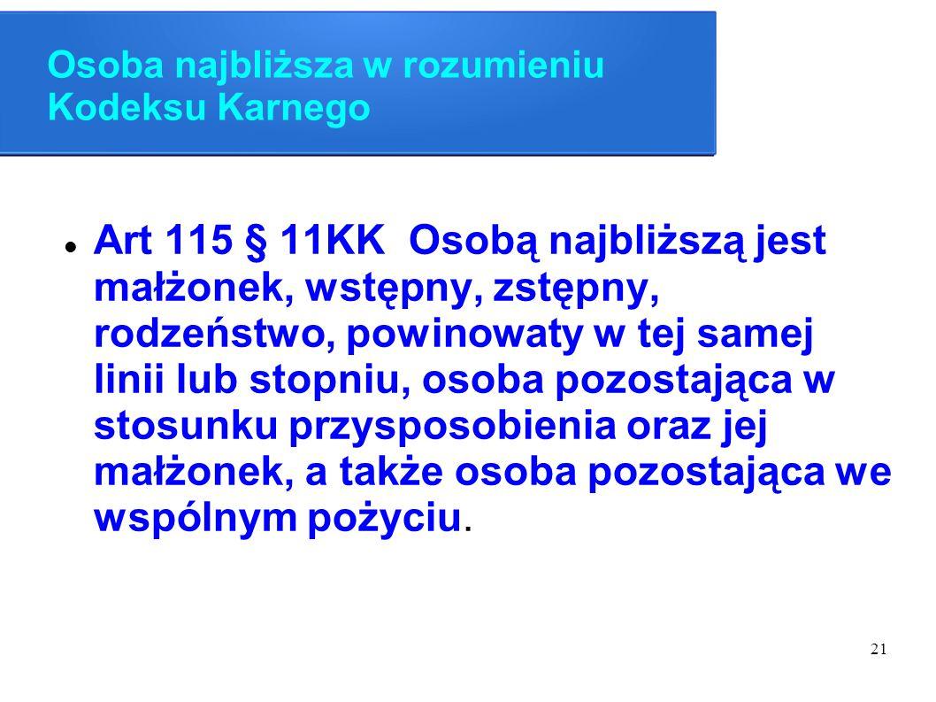 21 Osoba najbliższa w rozumieniu Kodeksu Karnego Art 115 § 11KK Osobą najbliższą jest małżonek, wstępny, zstępny, rodzeństwo, powinowaty w tej samej l
