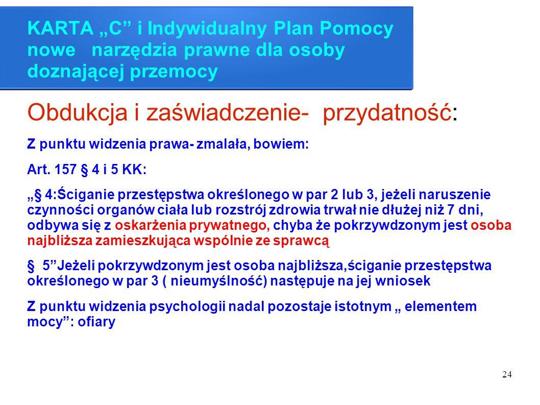 """24 KARTA """"C"""" i Indywidualny Plan Pomocy nowe narzędzia prawne dla osoby doznającej przemocy Obdukcja i zaświadczenie- przydatność: Z punktu widzenia p"""
