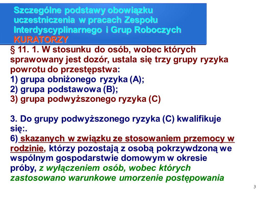 3 Szczególne podstawy obowiązku uczestniczenia w pracach Zespołu Interdyscyplinarnego i Grup Roboczych KURATORZY § 11. 1. W stosunku do osób, wobec kt