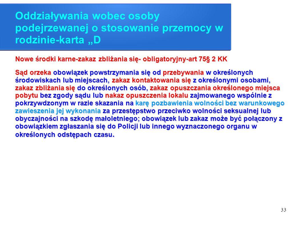 """33 Oddziaływania wobec osoby podejrzewanej o stosowanie przemocy w rodzinie-karta """"D Nowe środki karne-zakaz zbliżania się- obligatoryjny-art 75§ 2 KK"""