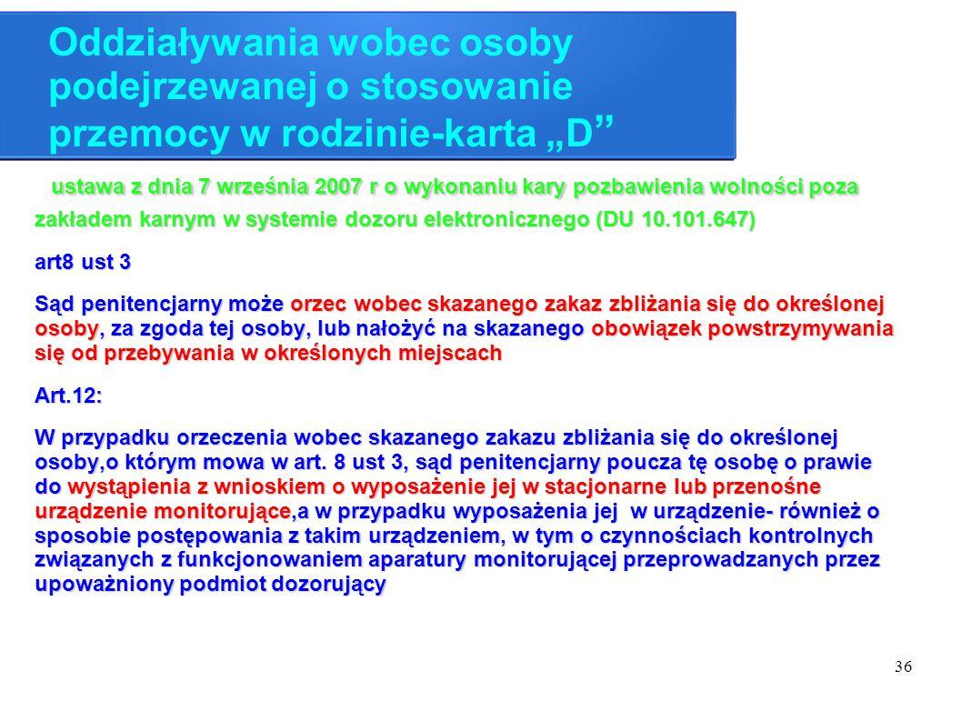 """36 Oddziaływania wobec osoby podejrzewanej o stosowanie przemocy w rodzinie-karta """"D """" ustawa z dnia 7 września 2007 r o wykonaniu kary pozbawienia wo"""