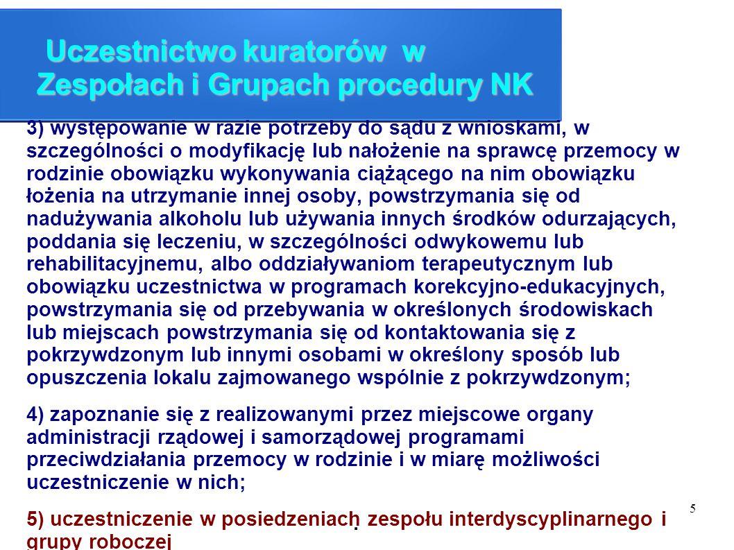 5 Uczestnictwo kuratorów w Zespołach i Grupach procedury NK Uczestnictwo kuratorów w Zespołach i Grupach procedury NK 3) występowanie w razie potrzeby