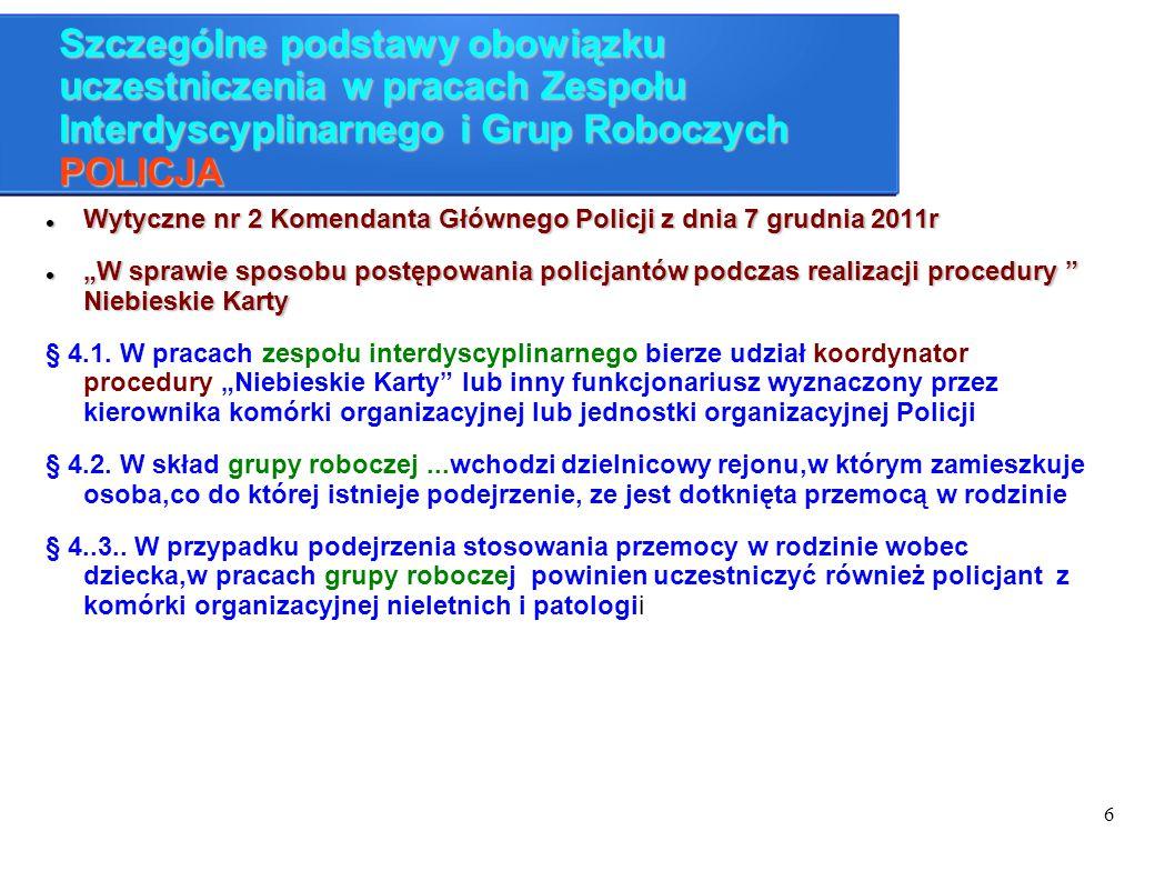 7 Szczególne podstawy obowiązku uczestniczenia w pracach Zespołu Interdyscyplinarnego i Grup Roboczych PROKURATURA Wytyczne Prokuratora Generalnego z dnia 1 kwietnia 2014r dotyczące zasad postępowania powszechnych jednostek organizacyjnych prokuratury w zakresie przeciwdziałania przemocy w rodzini Wytyczne Prokuratora Generalnego z dnia 1 kwietnia 2014r dotyczące zasad postępowania powszechnych jednostek organizacyjnych prokuratury w zakresie przeciwdziałania przemocy w rodzini Kierownicy jednostek organizacyjnych prokuratury lub inni wyznaczeni prokuratorzy powinni nawiązać współprace z organami administracji rządowej, samorządowej oraz z organizacjami pozarządowymi w celu przeciwdziałania przemocy w rodzinie.