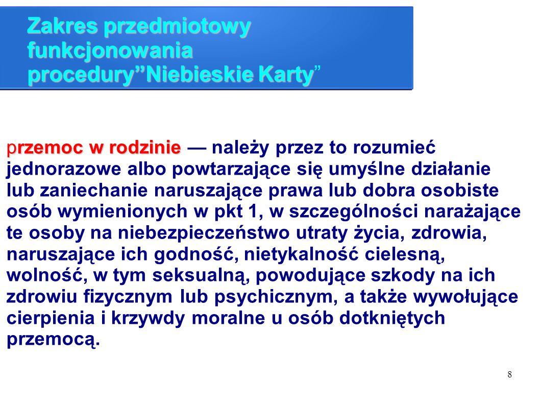 """8 Zakres przedmiotowy funkcjonowania procedury""""Niebieskie Karty Zakres przedmiotowy funkcjonowania procedury""""Niebieskie Karty"""" przemoc w rodzinie prze"""