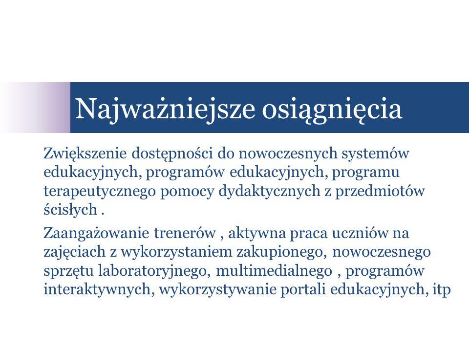 Zwiększenie dostępności do nowoczesnych systemów edukacyjnych, programów edukacyjnych, programu terapeutycznego pomocy dydaktycznych z przedmiotów ścisłych.