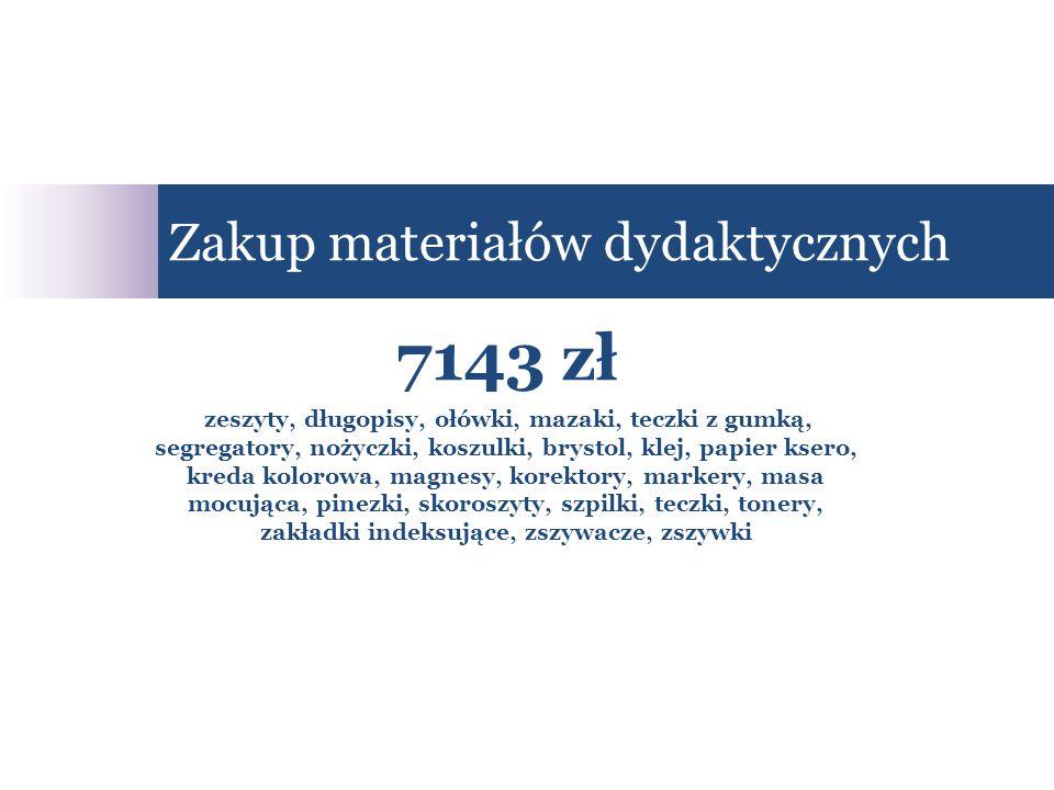 7143 zł zeszyty, długopisy, ołówki, mazaki, teczki z gumką, segregatory, nożyczki, koszulki, brystol, klej, papier ksero, kreda kolorowa, magnesy, korektory, markery, masa mocująca, pinezki, skoroszyty, szpilki, teczki, tonery, zakładki indeksujące, zszywacze, zszywki Zakup materiałów dydaktycznych