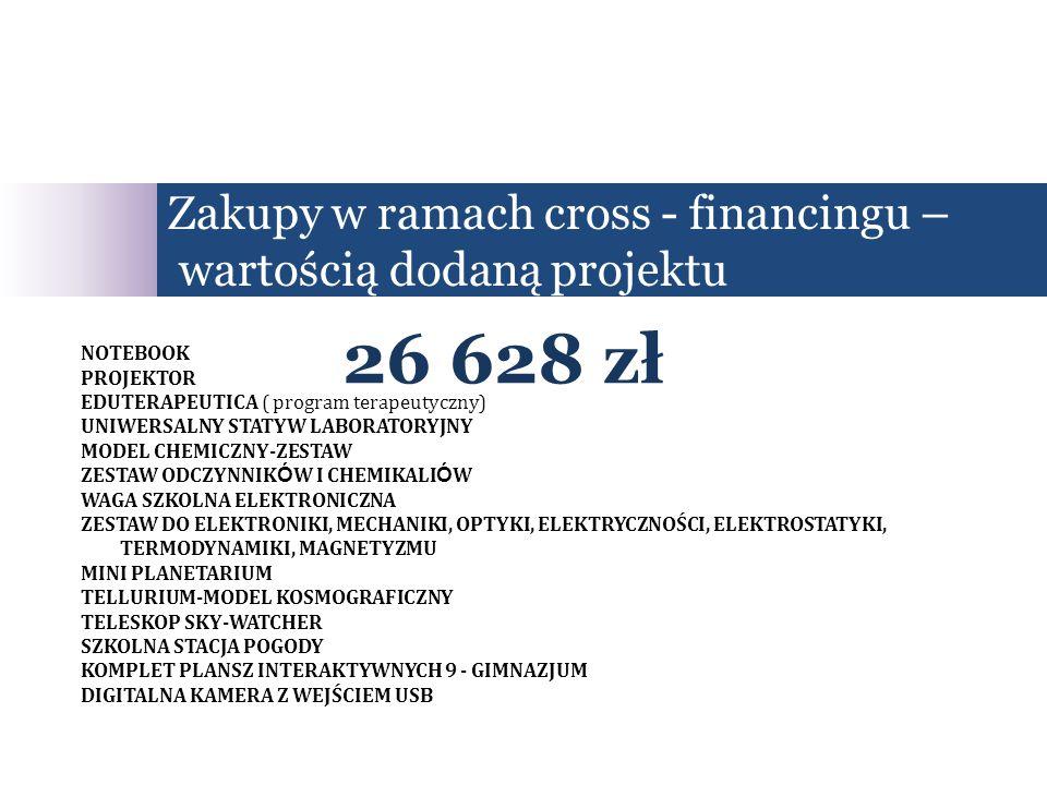 Zakupy w ramach cross - financingu – wartością dodaną projektu 26 628 zł NOTEBOOK PROJEKTOR EDUTERAPEUTICA ( program terapeutyczny) UNIWERSALNY STATYW LABORATORYJNY MODEL CHEMICZNY-ZESTAW ZESTAW ODCZYNNIK Ó W I CHEMIKALI Ó W WAGA SZKOLNA ELEKTRONICZNA ZESTAW DO ELEKTRONIKI, MECHANIKI, OPTYKI, ELEKTRYCZNOŚCI, ELEKTROSTATYKI, TERMODYNAMIKI, MAGNETYZMU MINI PLANETARIUM TELLURIUM-MODEL KOSMOGRAFICZNY TELESKOP SKY-WATCHER SZKOLNA STACJA POGODY KOMPLET PLANSZ INTERAKTYWNYCH 9 - GIMNAZJUM DIGITALNA KAMERA Z WEJŚCIEM USB