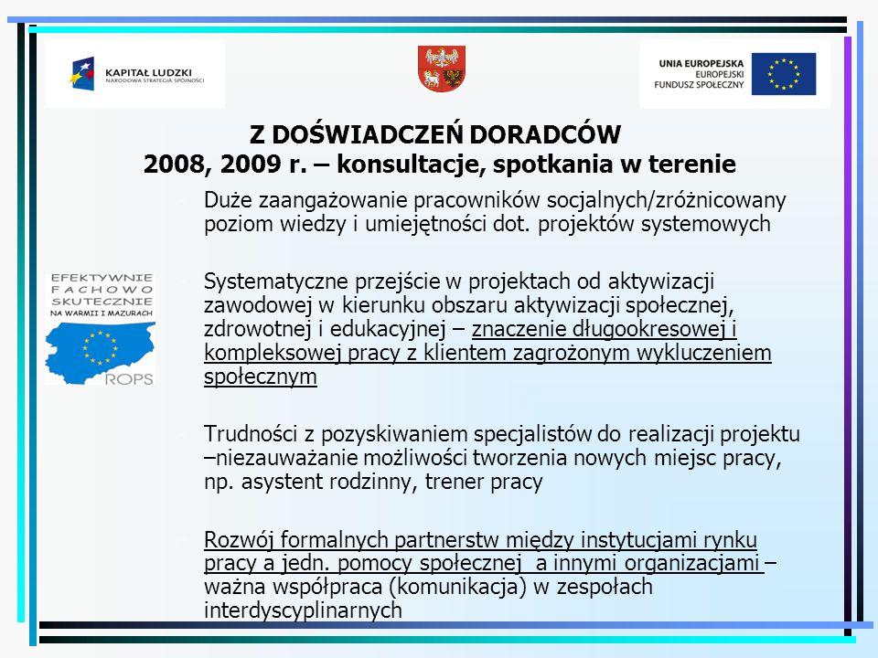 Z DOŚWIADCZEŃ DORADCÓW 2008, 2009 r. – konsultacje, spotkania w terenie  Duże zaangażowanie pracowników socjalnych/zróżnicowany poziom wiedzy i umiej