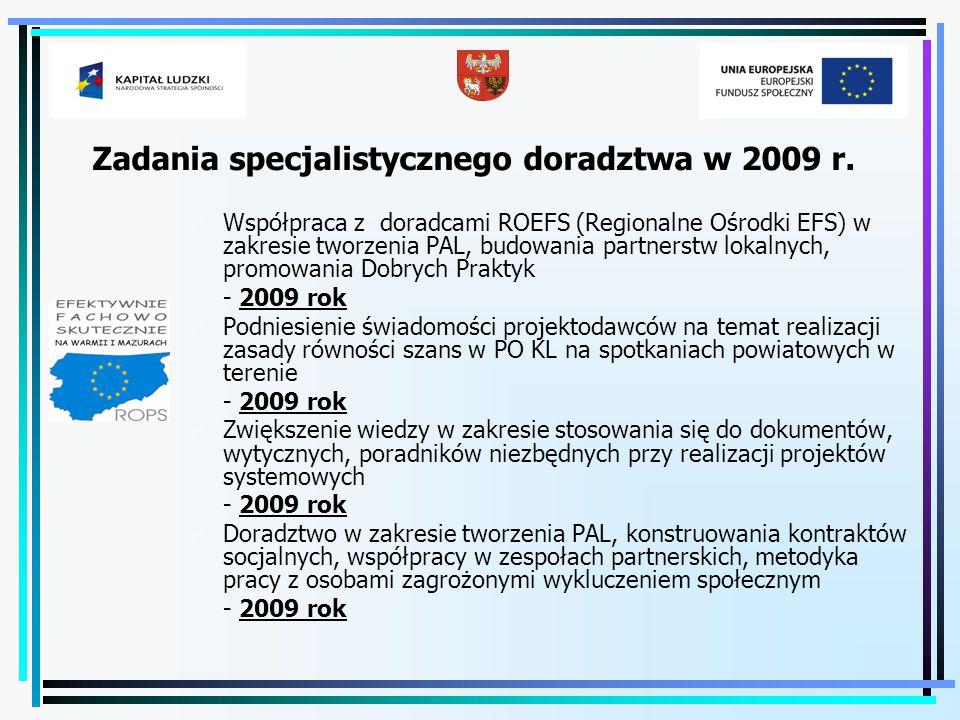 Zadania specjalistycznego doradztwa w 2009 r.  Współpraca z doradcami ROEFS (Regionalne Ośrodki EFS) w zakresie tworzenia PAL, budowania partnerstw l