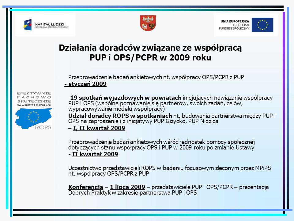Działania doradców związane ze współpracą PUP i OPS/PCPR w 2009 roku  Przeprowadzenie badań ankietowych nt. współpracy OPS/PCPR z PUP - styczeń 2009