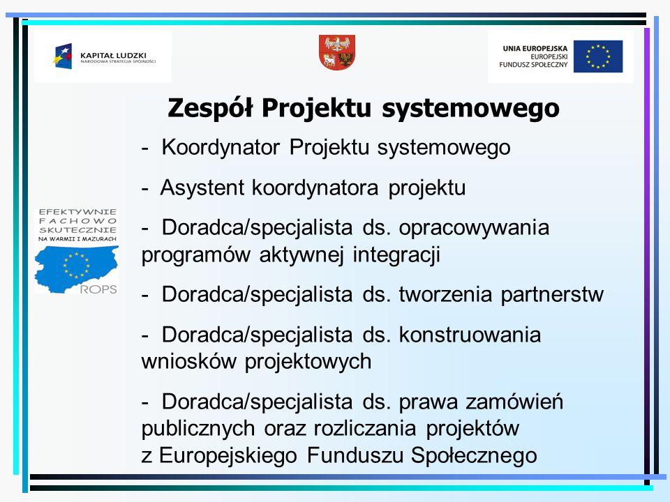Zespół Projektu systemowego - Koordynator Projektu systemowego - Asystent koordynatora projektu - Doradca/specjalista ds. opracowywania programów akty