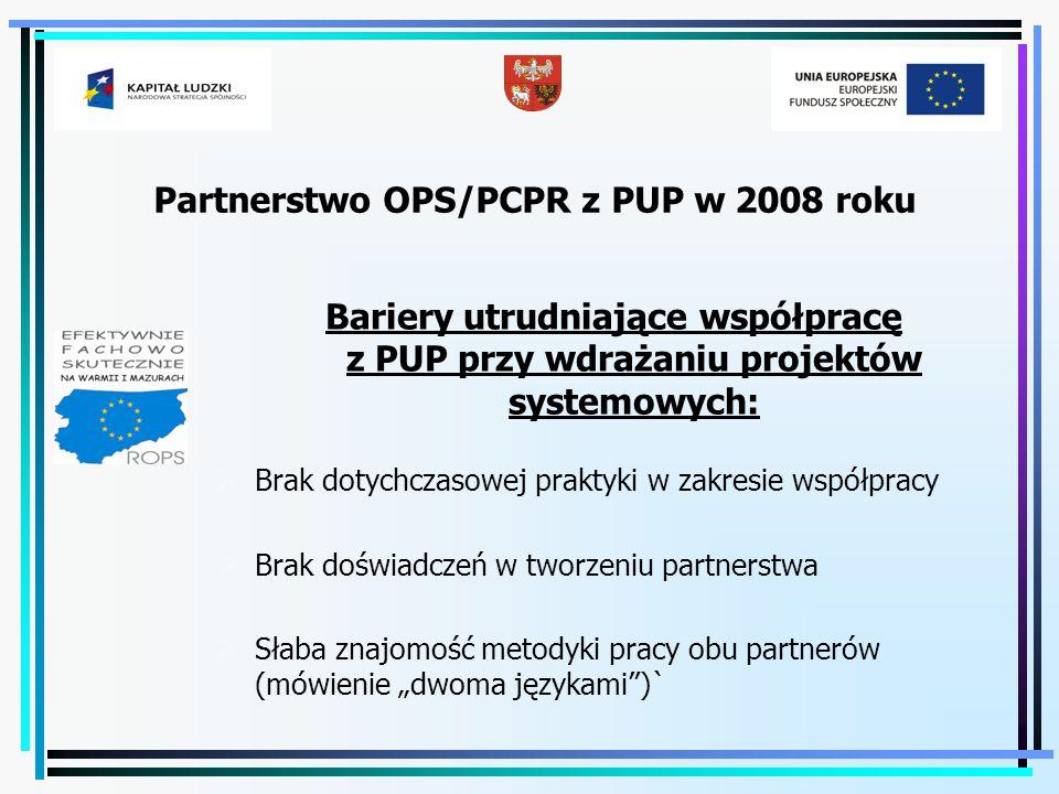 Partnerstwo OPS/PCPR z PUP w 2008 roku Bariery utrudniające współpracę z PUP przy wdrażaniu projektów systemowych:  Brak dotychczasowej praktyki w za