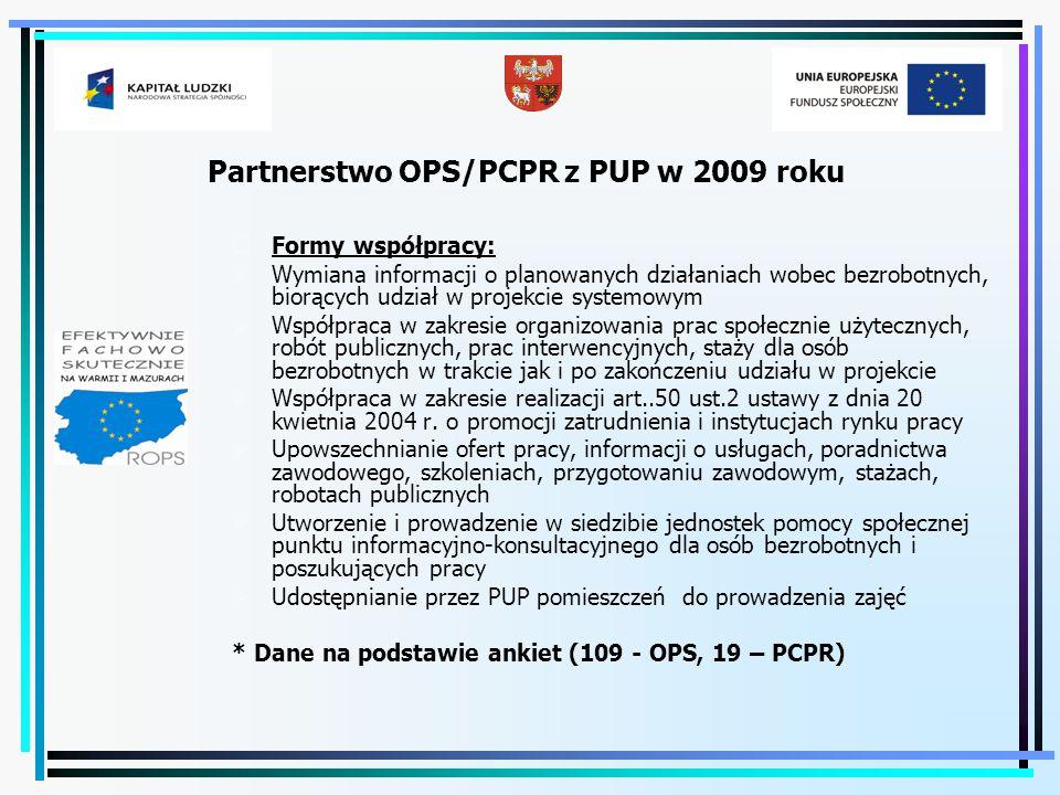 Partnerstwo OPS/PCPR z PUP w 2009 roku  Formy współpracy:  Wymiana informacji o planowanych działaniach wobec bezrobotnych, biorących udział w proje