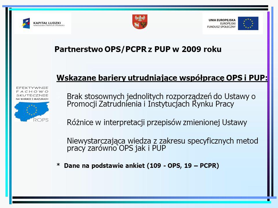 Partnerstwo OPS/PCPR z PUP w 2009 roku Wskazane bariery utrudniające współpracę OPS i PUP:  Brak stosownych jednolitych rozporządzeń do Ustawy o Prom