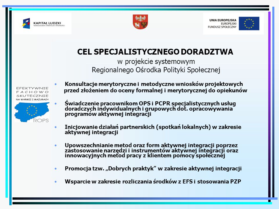 CEL SPECJALISTYCZNEGO DORADZTWA w projekcie systemowym Regionalnego Ośrodka Polityki Społecznej Konsultacje merytoryczne i metodyczne wniosków projekt