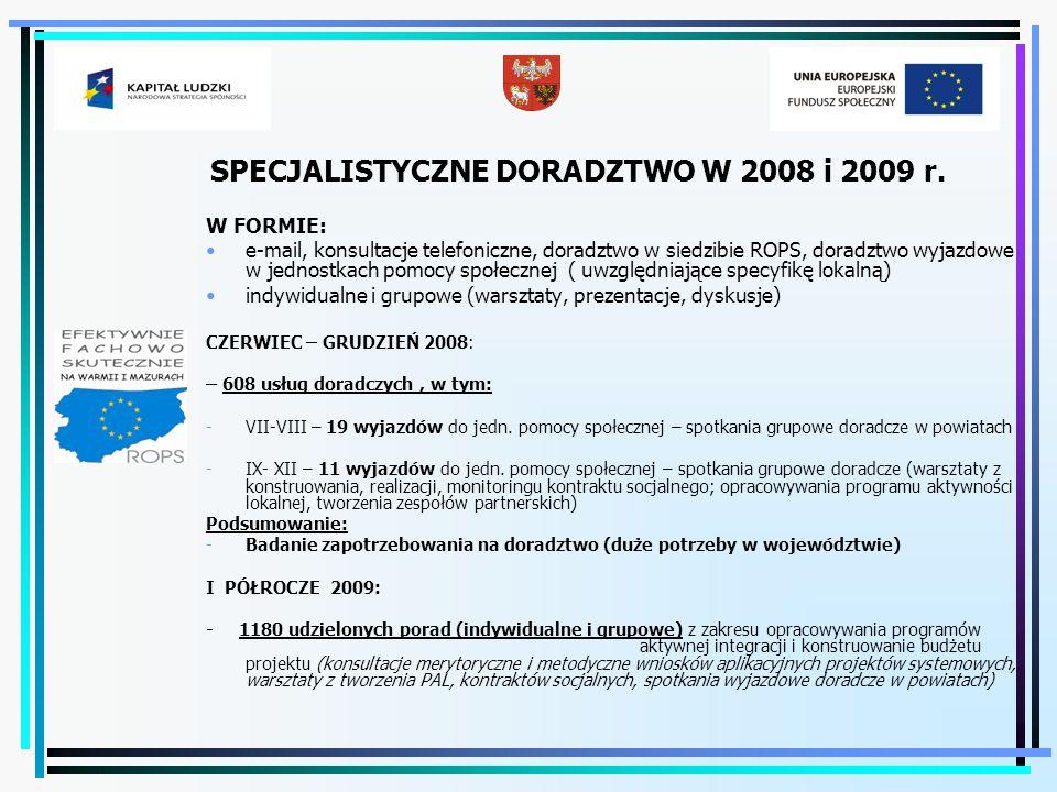 Zadania specjalistycznego doradztwa w 2009 r.