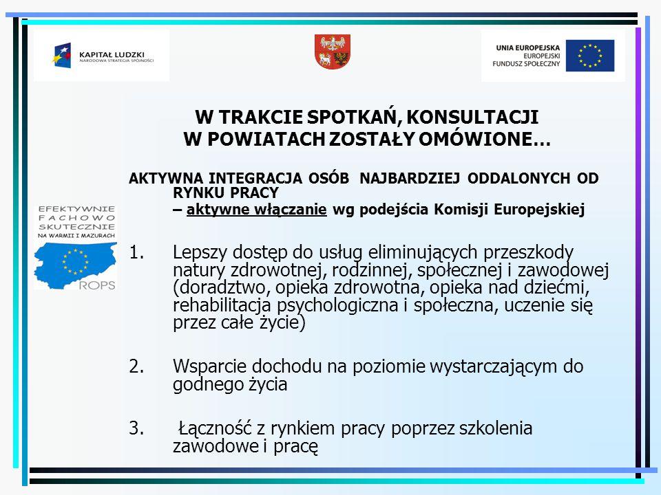 DOŚWIADCZENIA I STAN REALIZACJI TWORZENIA PARTNERSTWA ZADANIOWEGO PUP i OPS/PCPR w zakresie realizacji zadań na rzecz aktywnej integracji w Województwie Warmińsko-Mazurskim