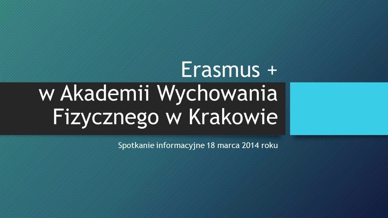 Erasmus + w Akademii Wychowania Fizycznego w Krakowie Spotkanie informacyjne 18 marca 2014 roku
