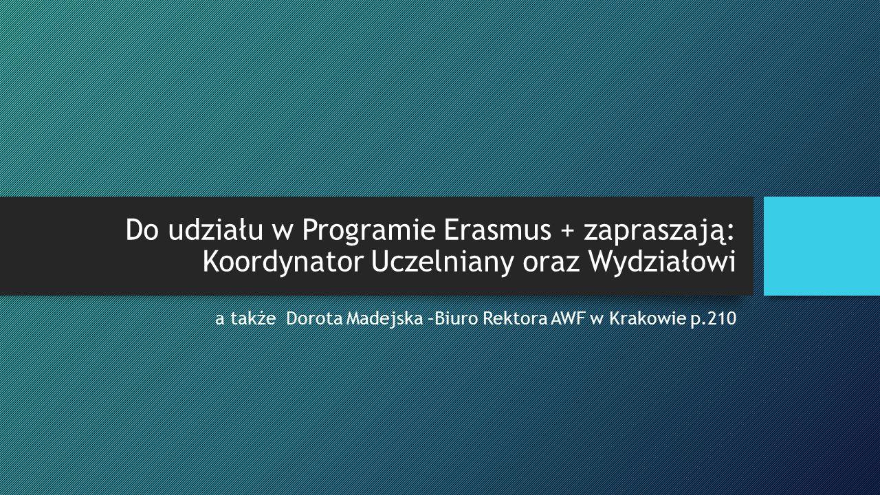 Do udziału w Programie Erasmus + zapraszają: Koordynator Uczelniany oraz Wydziałowi a także Dorota Madejska –Biuro Rektora AWF w Krakowie p.210