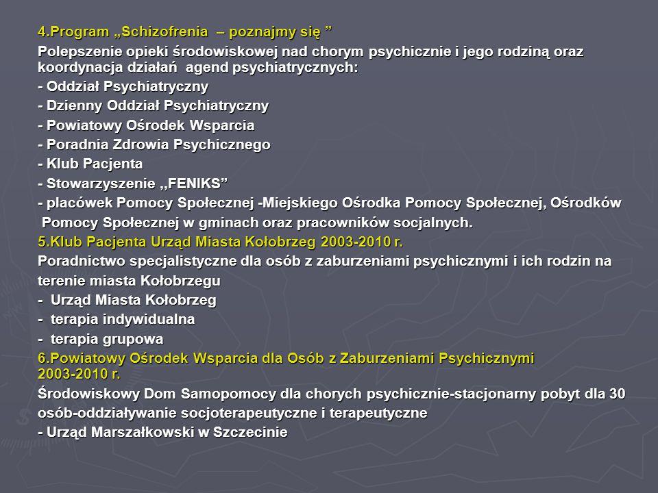 """4.Program """"Schizofrenia – poznajmy się Polepszenie opieki środowiskowej nad chorym psychicznie i jego rodziną oraz koordynacja działań agend psychiatrycznych: - Oddział Psychiatryczny - Dzienny Oddział Psychiatryczny - Powiatowy Ośrodek Wsparcia - Poradnia Zdrowia Psychicznego - Klub Pacjenta - Stowarzyszenie,,FENIKS - placówek Pomocy Społecznej -Miejskiego Ośrodka Pomocy Społecznej, Ośrodków Pomocy Społecznej w gminach oraz pracowników socjalnych."""