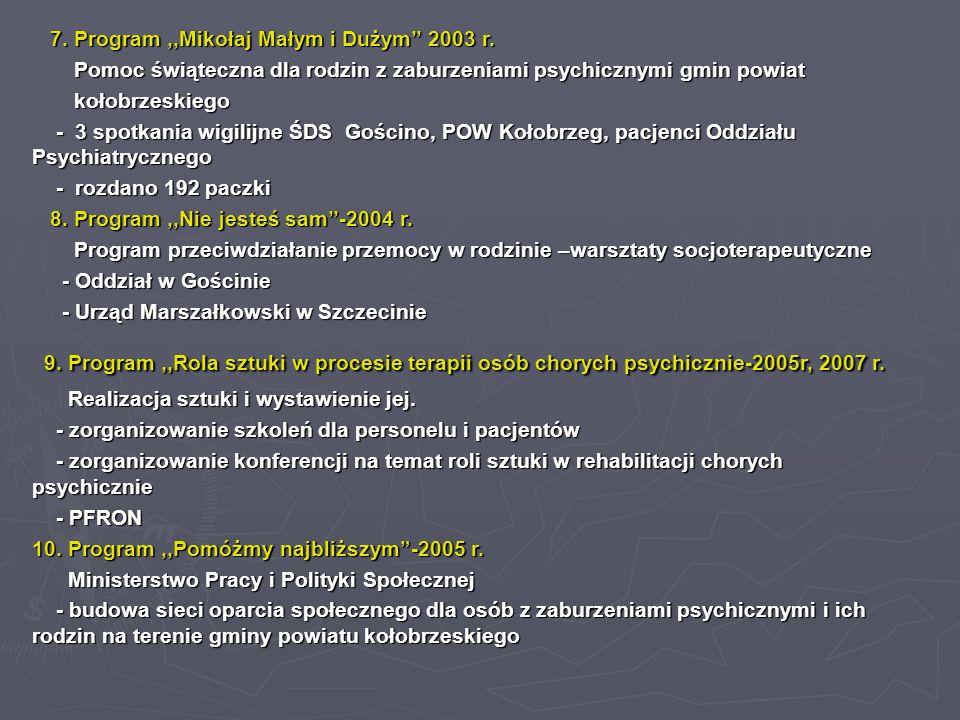 7. Program,,Mikołaj Małym i Dużym'' 2003 r. 7. Program,,Mikołaj Małym i Dużym'' 2003 r. Pomoc świąteczna dla rodzin z zaburzeniami psychicznymi gmin p