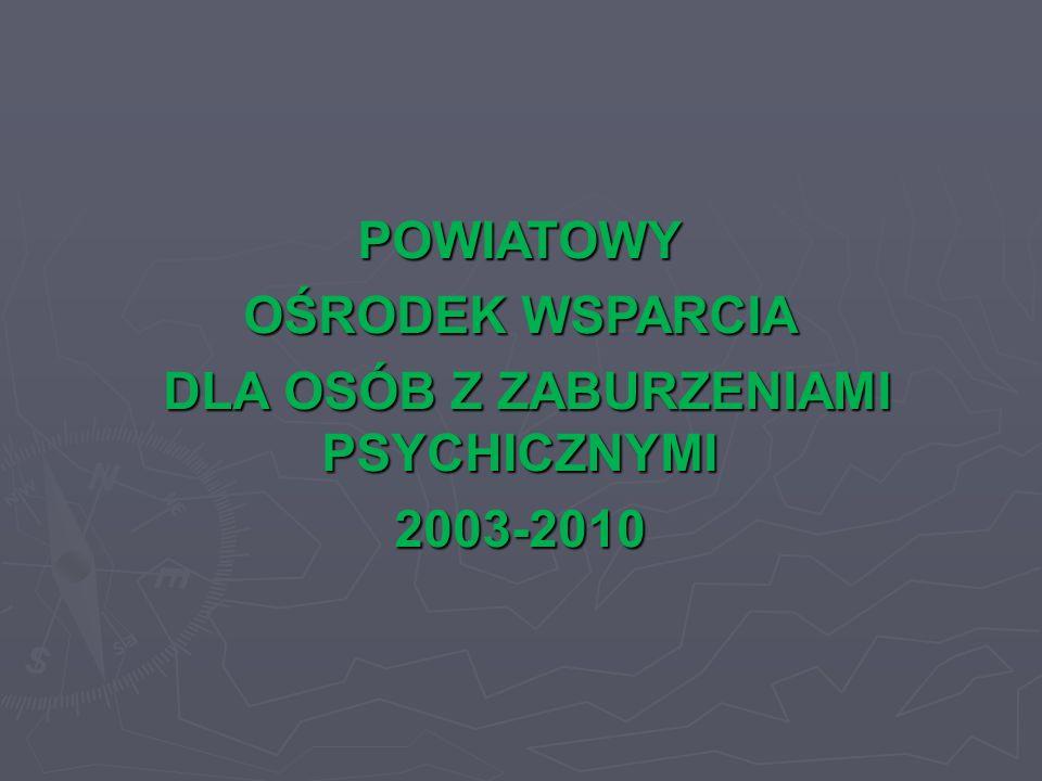 POWIATOWY OŚRODEK WSPARCIA DLA OSÓB Z ZABURZENIAMI PSYCHICZNYMI DLA OSÓB Z ZABURZENIAMI PSYCHICZNYMI2003-2010