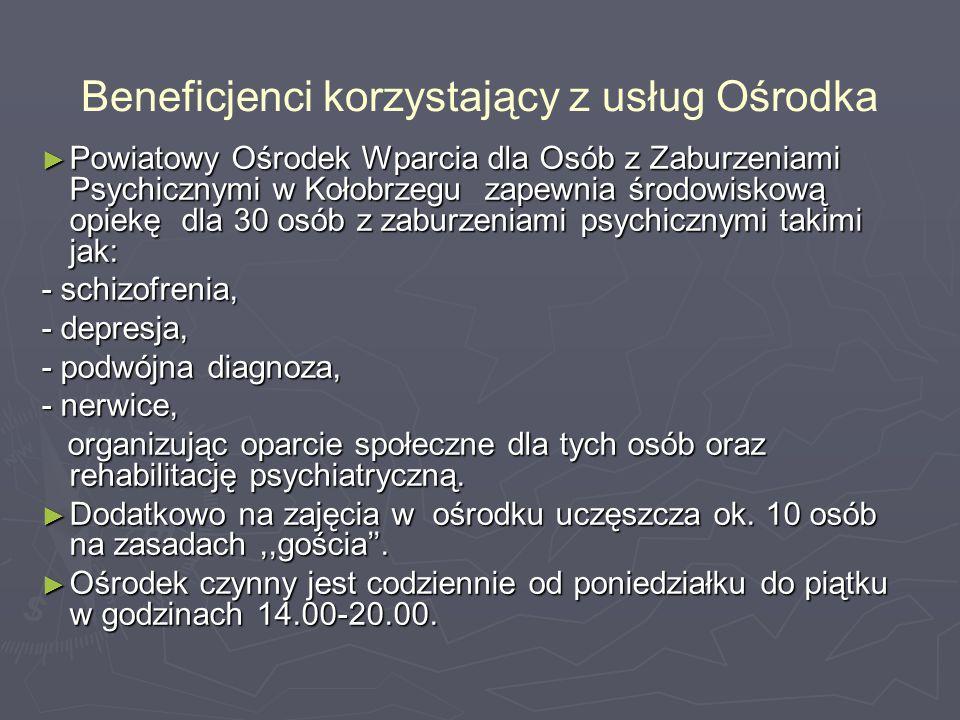 Beneficjenci korzystający z usług Ośrodka ► Powiatowy Ośrodek Wparcia dla Osób z Zaburzeniami Psychicznymi w Kołobrzegu zapewnia środowiskową opiekę dla 30 osób z zaburzeniami psychicznymi takimi jak: - schizofrenia, - depresja, - podwójna diagnoza, - nerwice, organizując oparcie społeczne dla tych osób oraz rehabilitację psychiatryczną.