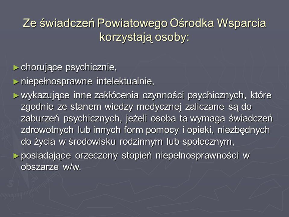 Ze świadczeń Powiatowego Ośrodka Wsparcia korzystają osoby: ► chorujące psychicznie, ► niepełnosprawne intelektualnie, ► wykazujące inne zakłócenia cz