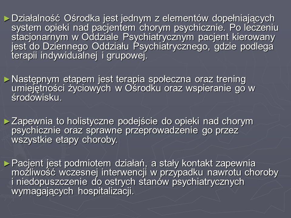 ► Działalność Ośrodka jest jednym z elementów dopełniających system opieki nad pacjentem chorym psychicznie. Po leczeniu stacjonarnym w Oddziale Psych
