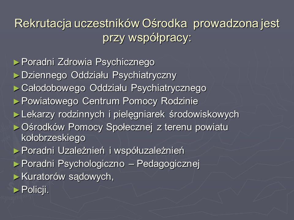 Rekrutacja uczestników Ośrodka prowadzona jest przy współpracy: ► Poradni Zdrowia Psychicznego ► Dziennego Oddziału Psychiatryczny ► Całodobowego Oddz