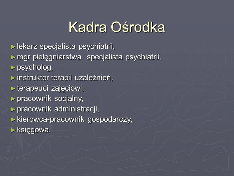 Kadra Ośrodka ► lekarz specjalista psychiatrii, ► mgr pielęgniarstwa specjalista psychiatrii, ► psycholog, ► instruktor terapii uzależnień, ► terapeuc