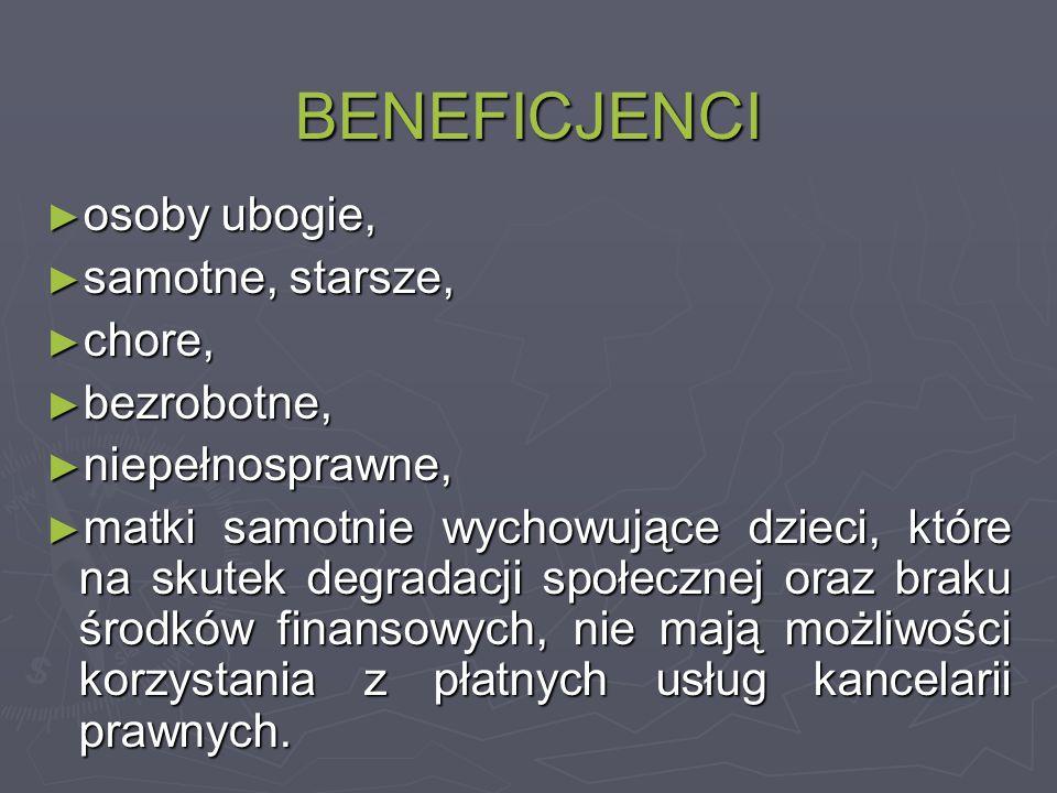 BENEFICJENCI ► osoby ubogie, ► samotne, starsze, ► chore, ► bezrobotne, ► niepełnosprawne, ► matki samotnie wychowujące dzieci, które na skutek degradacji społecznej oraz braku środków finansowych, nie mają możliwości korzystania z płatnych usług kancelarii prawnych.