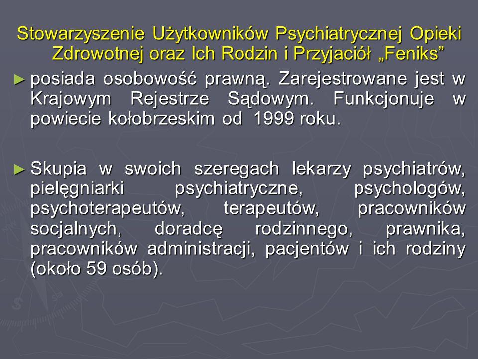 """Stowarzyszenie Użytkowników Psychiatrycznej Opieki Zdrowotnej oraz Ich Rodzin i Przyjaciół """"Feniks"""" ► posiada osobowość prawną. Zarejestrowane jest w"""