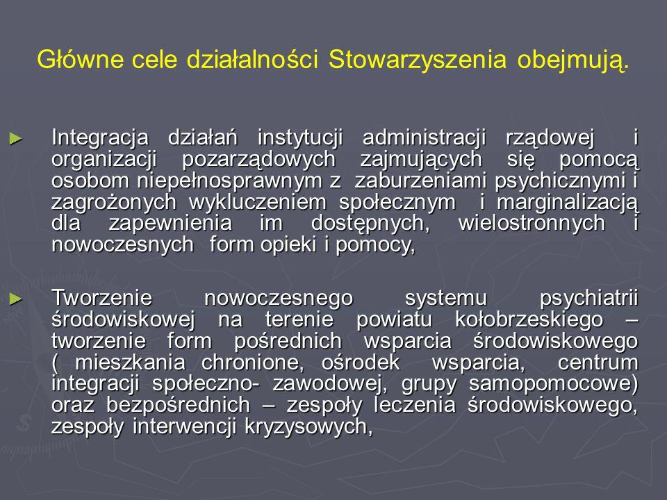 Główne cele działalności Stowarzyszenia obejmują. ► Integracja działań instytucji administracji rządowej i organizacji pozarządowych zajmujących się p
