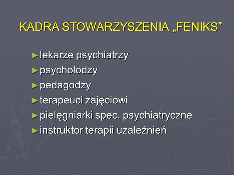 """KADRA STOWARZYSZENIA """"FENIKS ► lekarze psychiatrzy ► psycholodzy ► pedagodzy ► terapeuci zajęciowi ► pielęgniarki spec."""