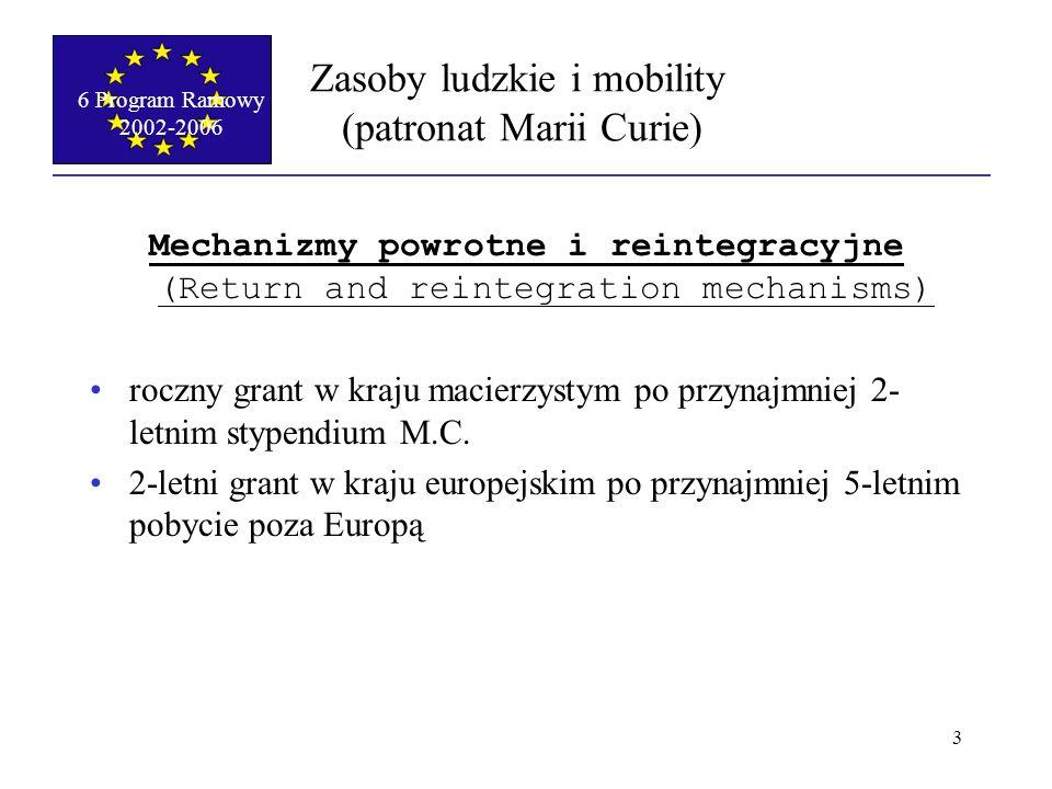 """6 Program Ramowy 2002-2006 4 Zasoby ludzkie i mobility (patronat Marii Curie) Stypendysta po doktoracie otrzymuje: stypendium w wysokości 3000-5000 Euro miesięcznie brutto (w zależności od kraju pobytu) zwrot kosztów podróży dodatek 400 Euro miesięcznie dodatek """"rodzinny (wysokość jeszcze nieznana) Doktorant otrzymuje stypendium w wysokości 1200 euro miesięcznie zwrot kosztów podróży"""