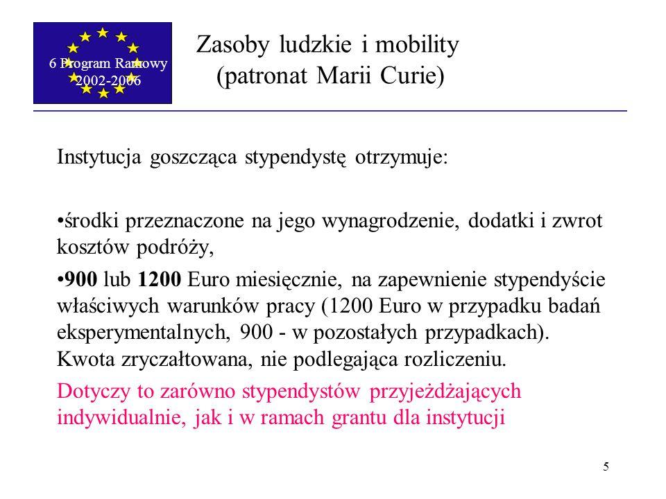 6 Program Ramowy 2002-2006 5 Zasoby ludzkie i mobility (patronat Marii Curie) Instytucja goszcząca stypendystę otrzymuje: środki przeznaczone na jego wynagrodzenie, dodatki i zwrot kosztów podróży, 900 lub 1200 Euro miesięcznie, na zapewnienie stypendyście właściwych warunków pracy (1200 Euro w przypadku badań eksperymentalnych, 900 - w pozostałych przypadkach).