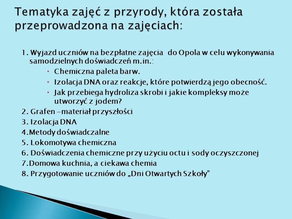 1. Wyjazd uczniów na bezpłatne zajęcia do Opola w celu wykonywania samodzielnych doświadczeń m.in.:  Chemiczna paleta barw.  Izolacja DNA oraz reakc