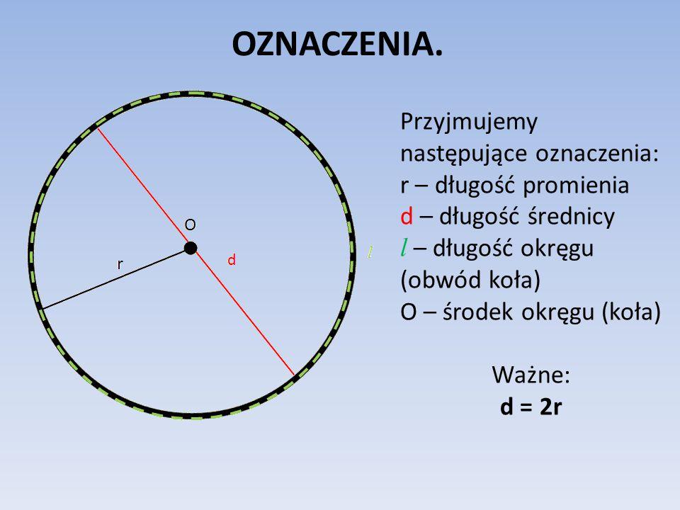 """LICZBA π.Przypomnijmy (dokładne informacje znajdziesz w lekcji """"Koło."""