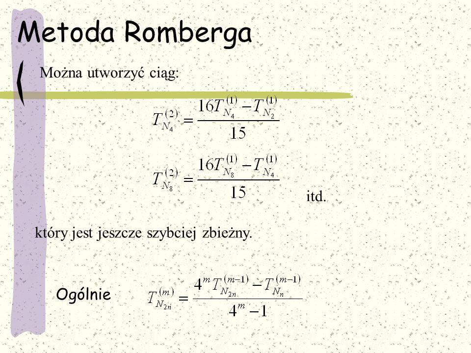 Metoda Romberga Można utworzyć ciąg: itd. który jest jeszcze szybciej zbieżny. Ogólnie