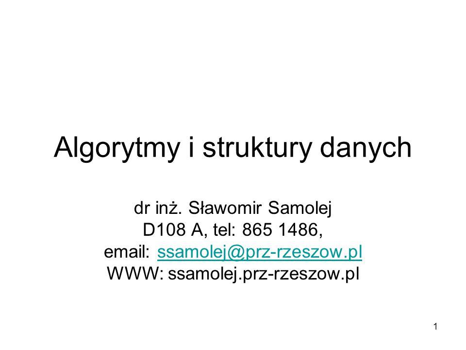 1 Algorytmy i struktury danych dr inż. Sławomir Samolej D108 A, tel: 865 1486, email: ssamolej@prz-rzeszow.plssamolej@prz-rzeszow.pl WWW: ssamolej.prz