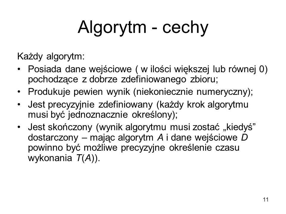 11 Algorytm - cechy Każdy algorytm: Posiada dane wejściowe ( w ilości większej lub równej 0) pochodzące z dobrze zdefiniowanego zbioru; Produkuje pewi