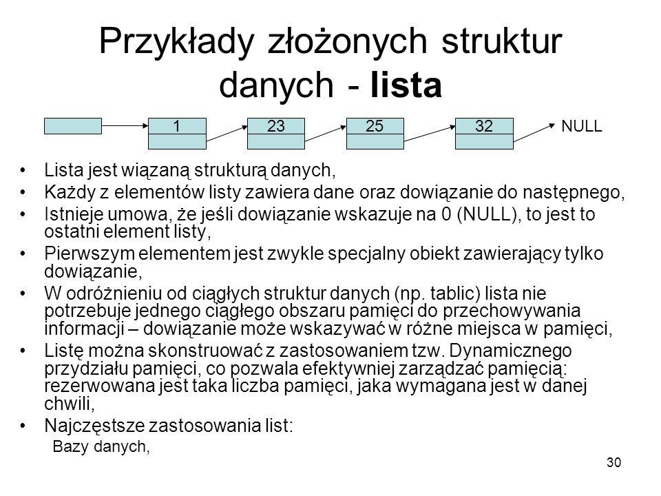 30 Przykłady złożonych struktur danych - lista Lista jest wiązaną strukturą danych, Każdy z elementów listy zawiera dane oraz dowiązanie do następnego