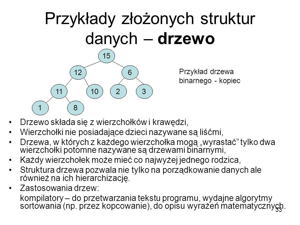 33 Przykłady złożonych struktur danych – drzewo Drzewo składa się z wierzchołków i krawędzi, Wierzchołki nie posiadające dzieci nazywane są liśćmi, Dr