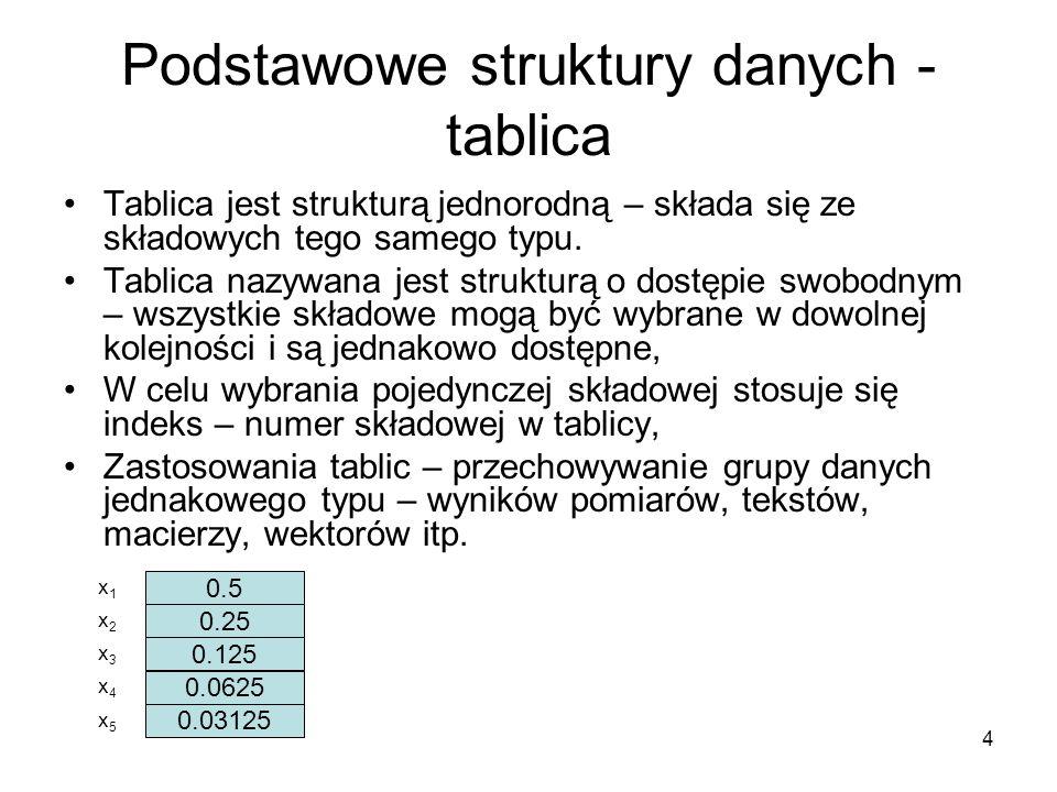4 Podstawowe struktury danych - tablica Tablica jest strukturą jednorodną – składa się ze składowych tego samego typu. Tablica nazywana jest strukturą
